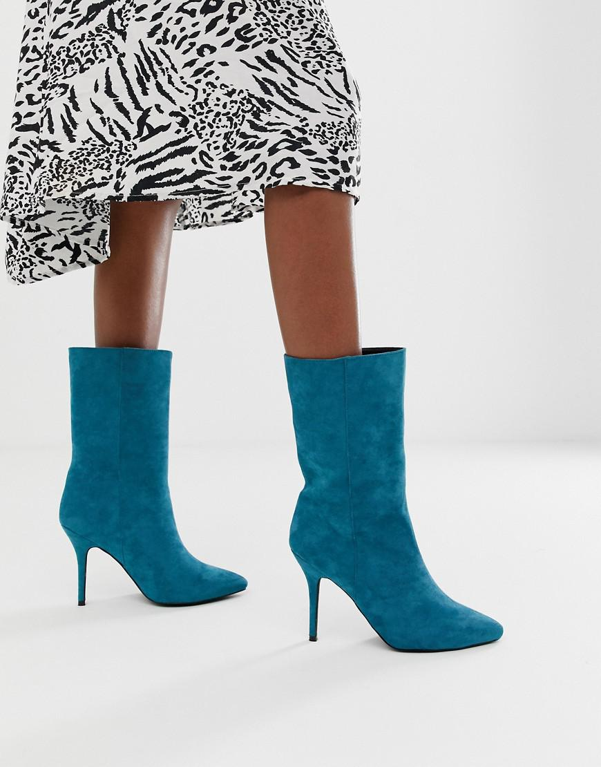 4b24fdbd260 Lyst - PrettyLittleThing Faux Suede High Heeled Ankle Boot In Teal in Blue