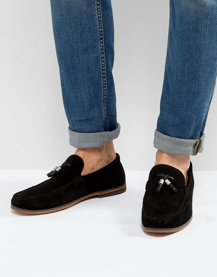 ASOS Loafers In Black Suede With Tassels for Men - Lyst