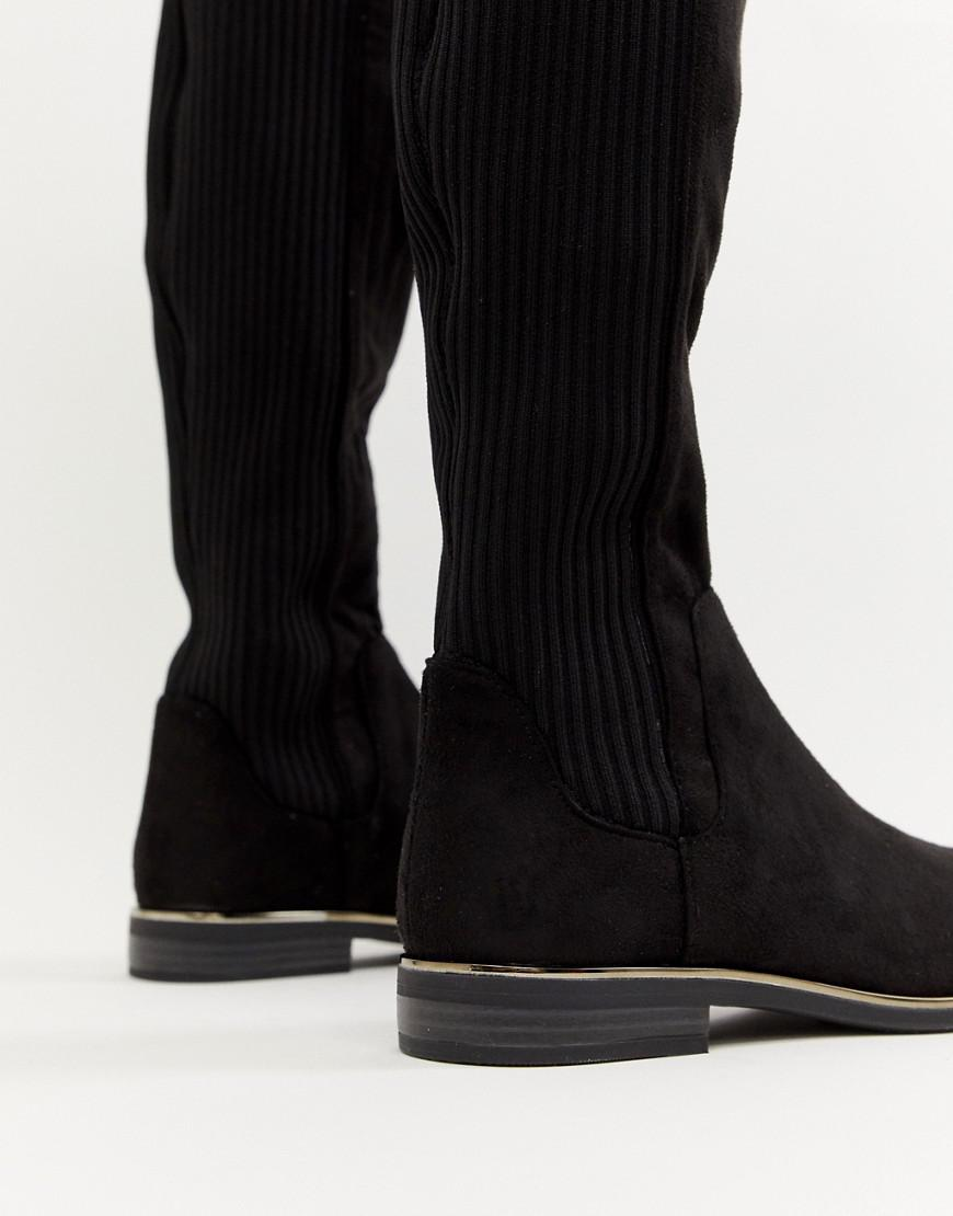 8abe7015c1f Bershka Ribbed Over The Knee Boot in Black - Lyst