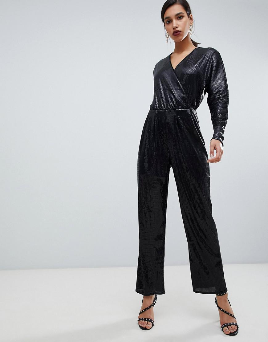 d7be117c2de2 Y.A.S - Black All Over Sequin Wideleg Jumpsuit - Lyst. View fullscreen