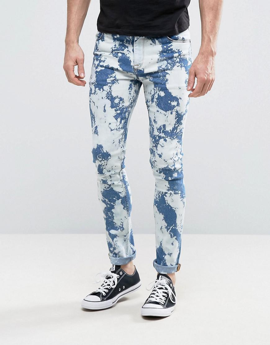 Asos Denim Super Skinny Jeans With Bleach Spots Mid Blue