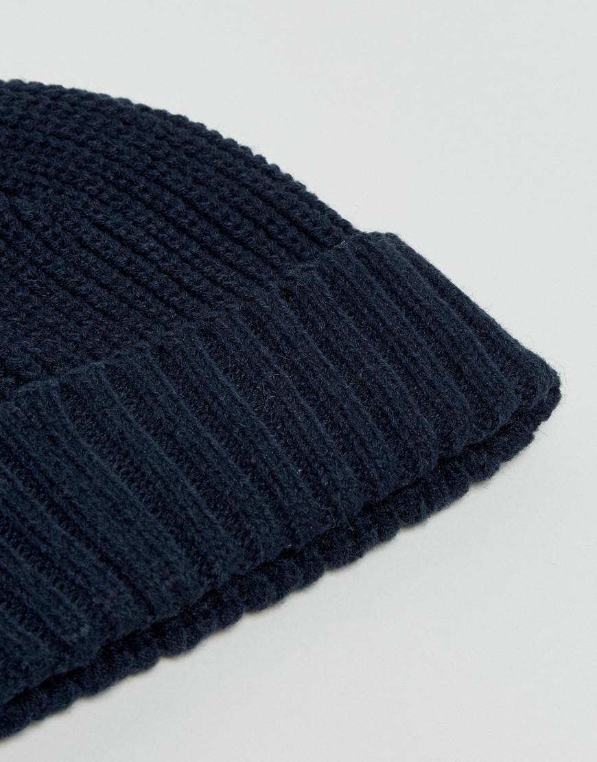 Ribbed Beanie Hat - Navy French Connection zwNT3im