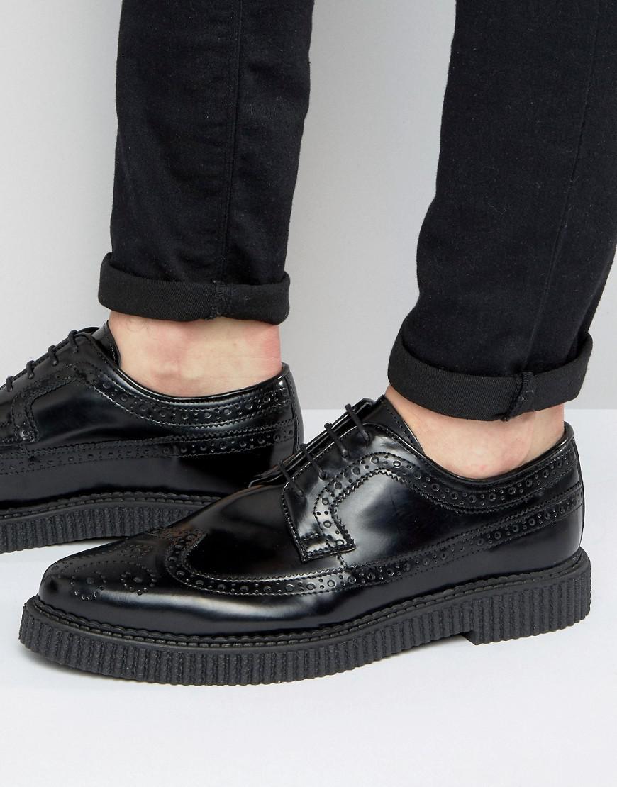 Asos Chaussures Richelieu En Cuir Noir Avec Semelle Nervurée - Noir OXCSXYe8ca