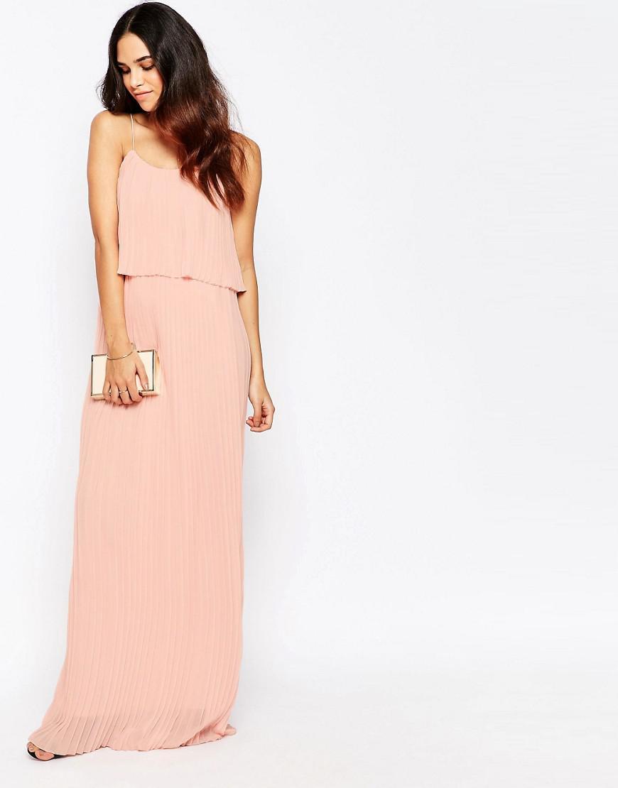 d22b07412b3 Lyst - Club L Pleated Overlay Maxi Dress in Pink