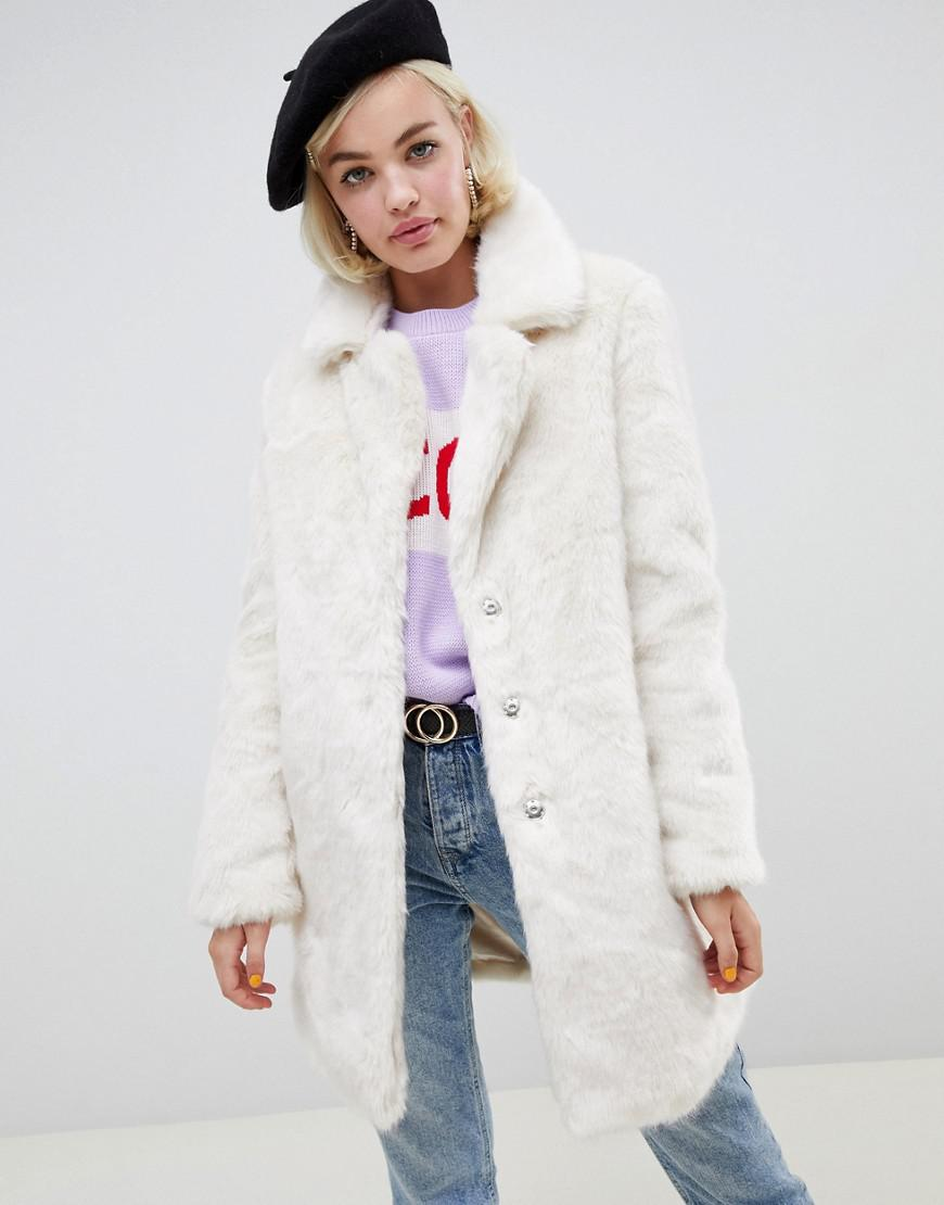 0f984ccd486 Glamorous Relaxed Longline Coat In Faux Fur in White - Lyst