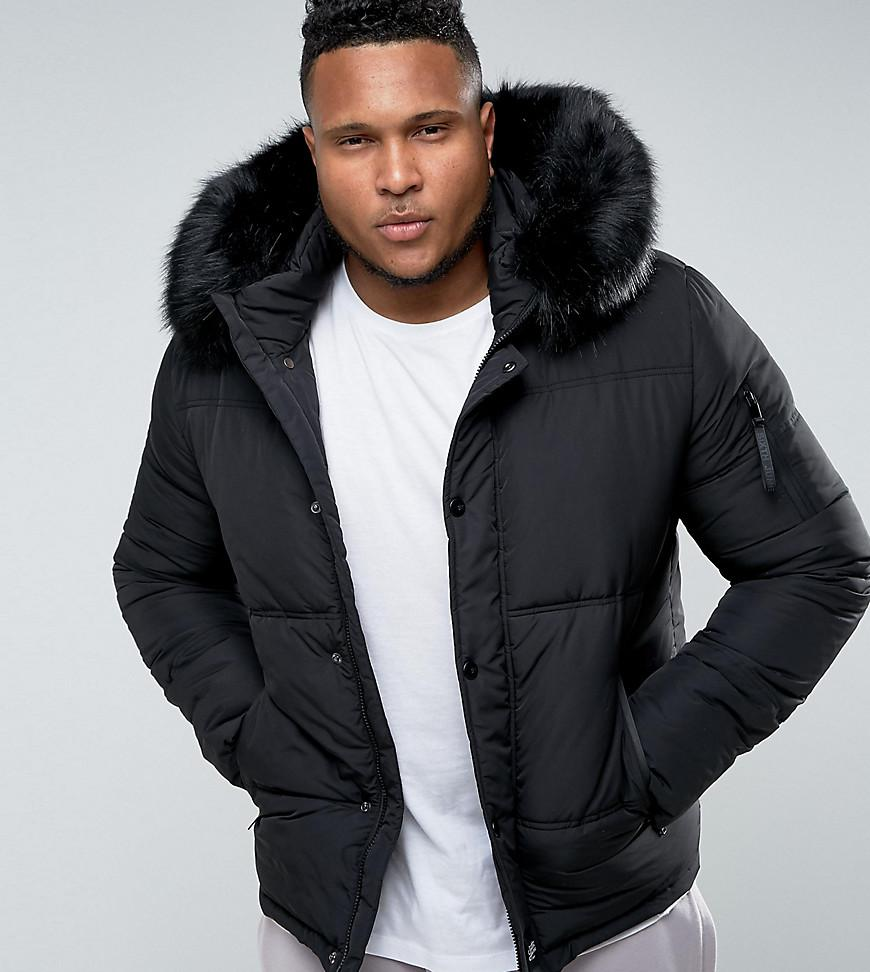 abefd2ce89e4 Sixth June Puffer Jacket In Black With Faux Fur Hood Exclusive To ...