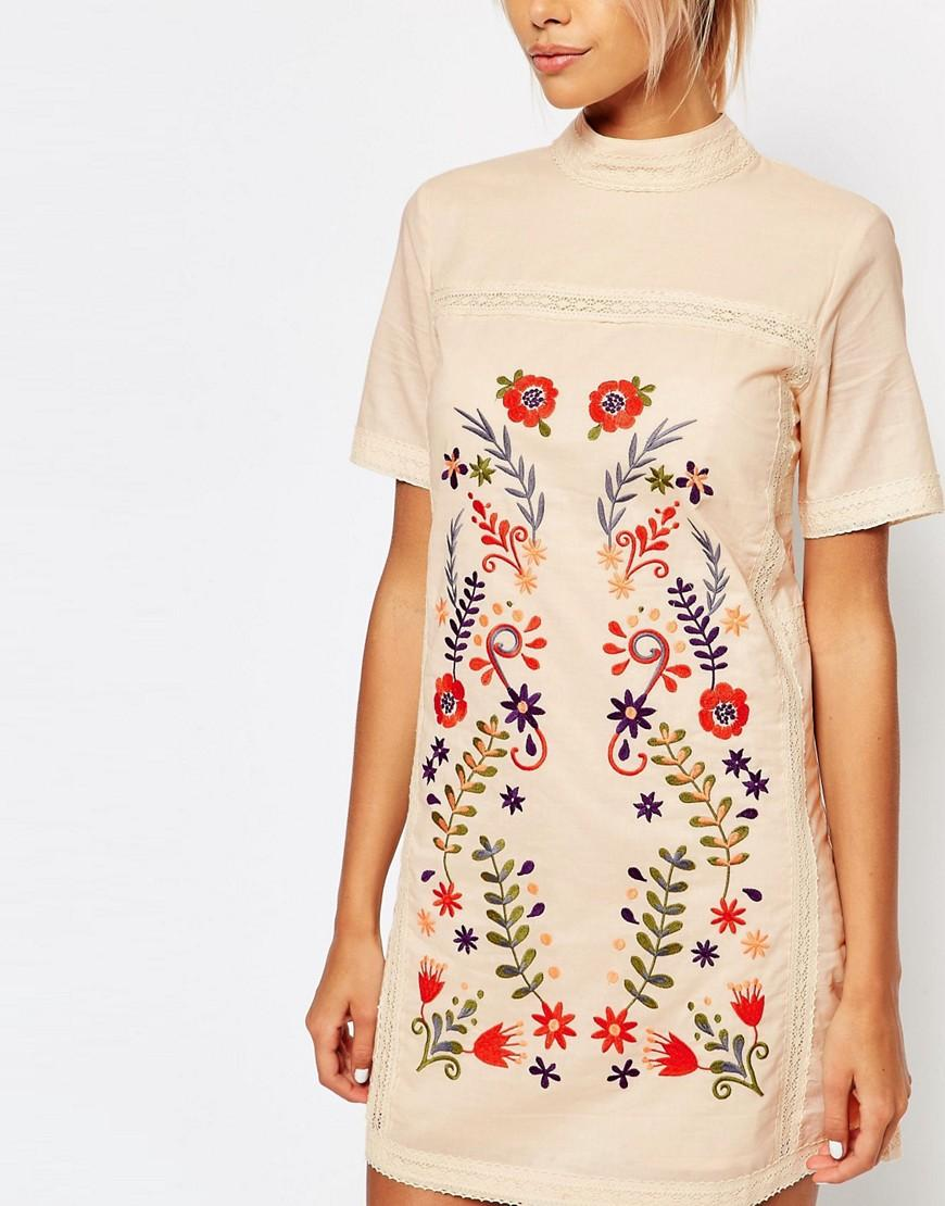 Fashion union shift dress with embroidery in natural lyst