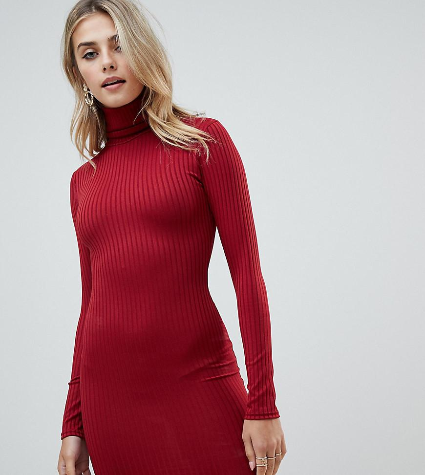 e96bf61815 PrettyLittleThing Roll Neck Long Sleeve Bodycon Mini Dress In Red in ...