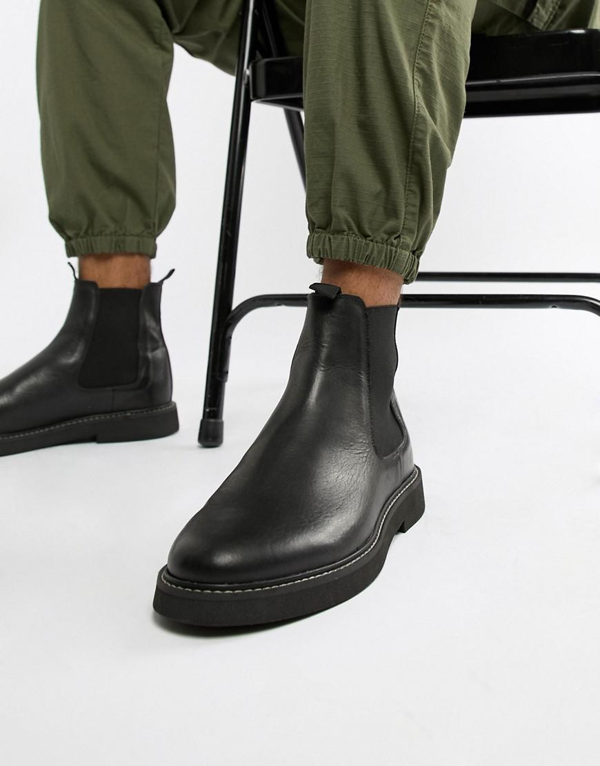64e6bd990f67 Lyst - ASOS Chelsea Boots In Black Leather With Chunky Sole in Black ...