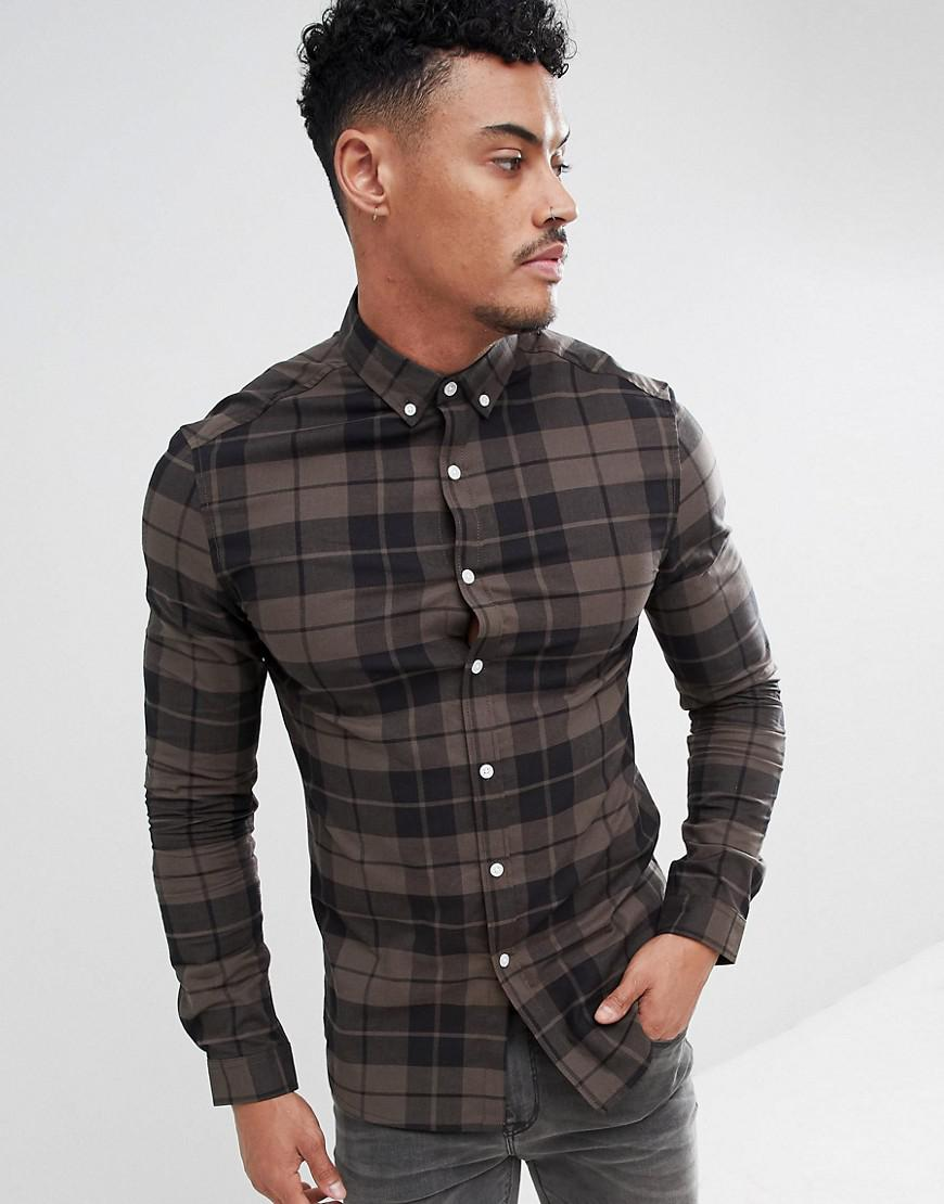7830ea672900 Lyst - ASOS Skinny Check Shirt In Khaki in Green for Men