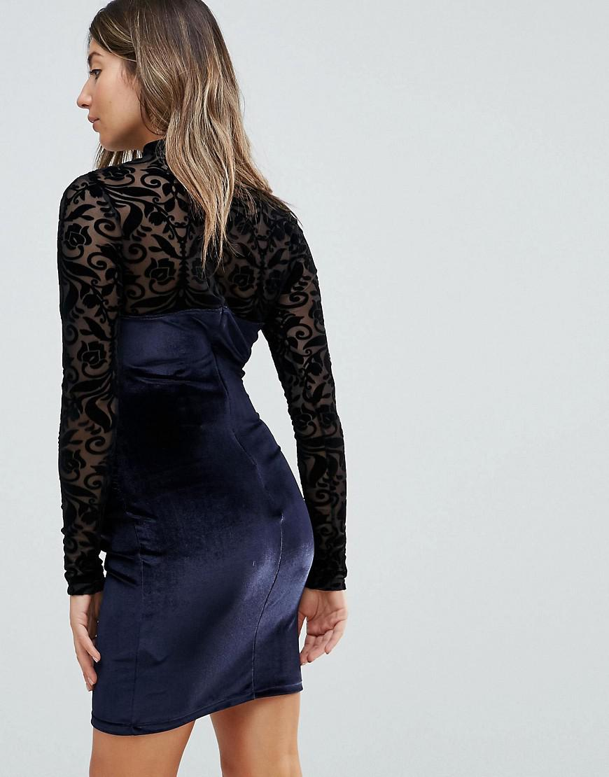 1c439a9bf1a Asos Petite Velvet And Lace Long Sleeve Bodycon Mini Dress - Gomes ...
