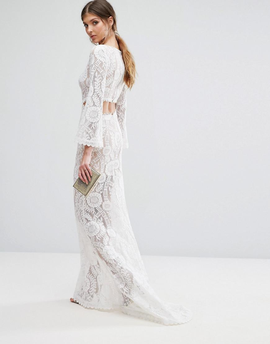 1791f521dd6 Jarlo Cutout Back Lace Maxi Dress With Train in White - Lyst