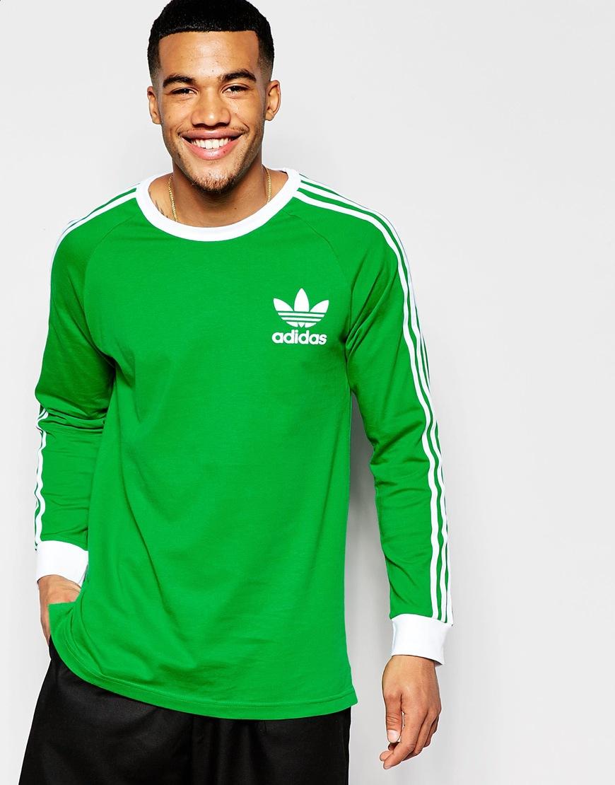 Lyst adidas originals adicolor long sleeve t shirt in for Green mens t shirt