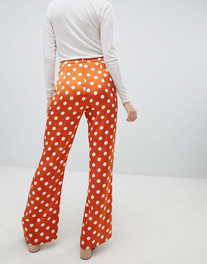 befa6c8997 Glamorous Kick Flare Pants In Spot Satin in Orange - Lyst