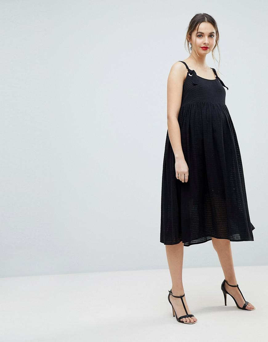 Chuck On Knot Tie Smock Midi Sundress - Black Asos Maternity From China Cheap Price Free Shipping Latest For Sale Clearance Find Great REX6v19