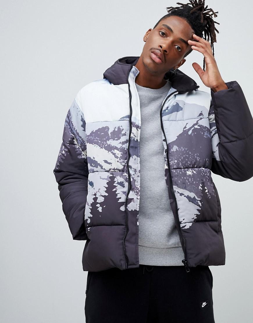 cc2d880dc10351 Lyst - ASOS Puffer Jacket In Mountain Print in Blue for Men