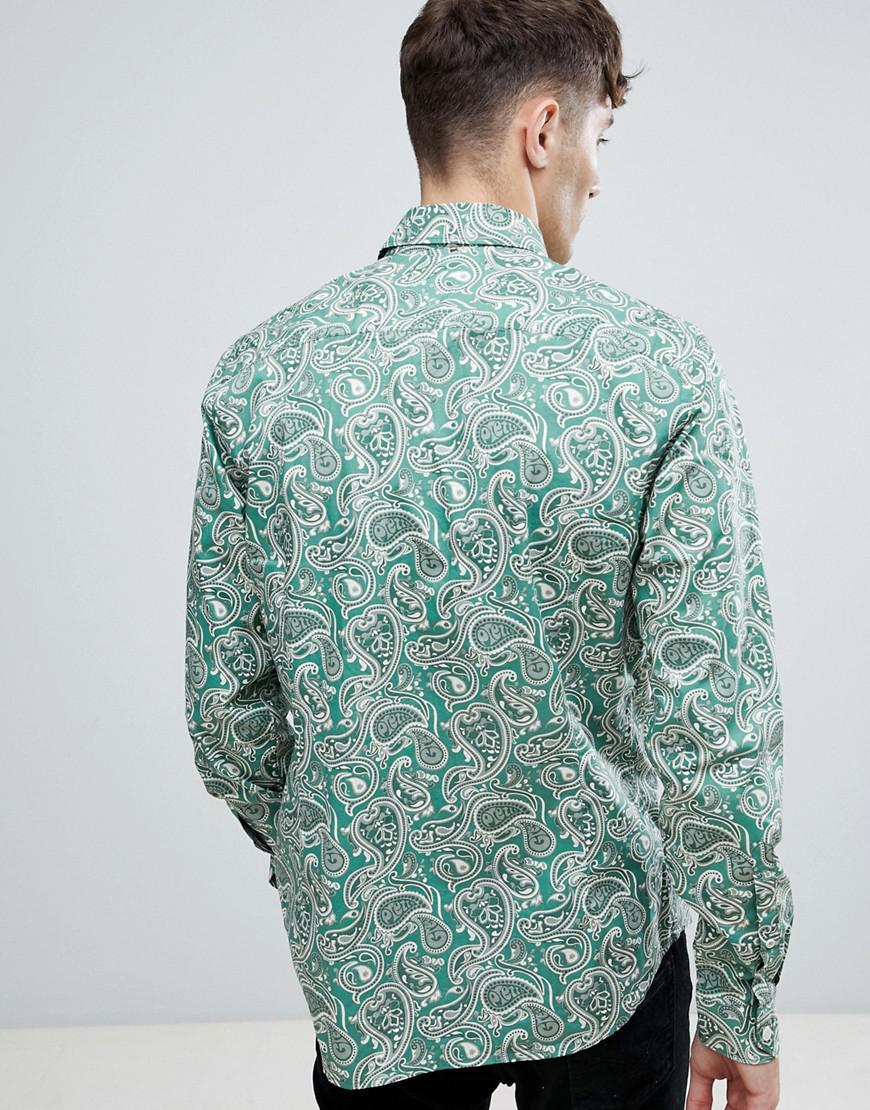 53c43345c2b7 Lyst - Pretty Green Slim Fit Tonal Paisley Shirt In Green in Green for Men