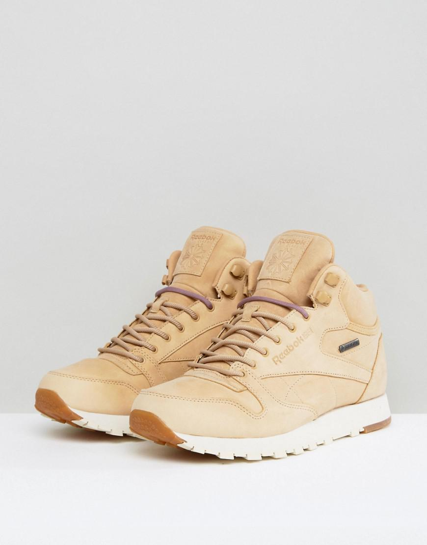 9c89be39d8aa11 Reebok Classic Leather Mid Gtx Trainers In Tan Bs7882 for Men - Lyst