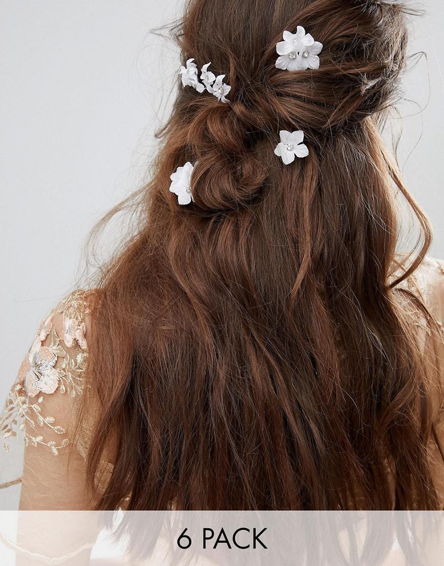 Lyst Asos Design Bridal Pack Of 6 Crystal Flower Hair Clips In White