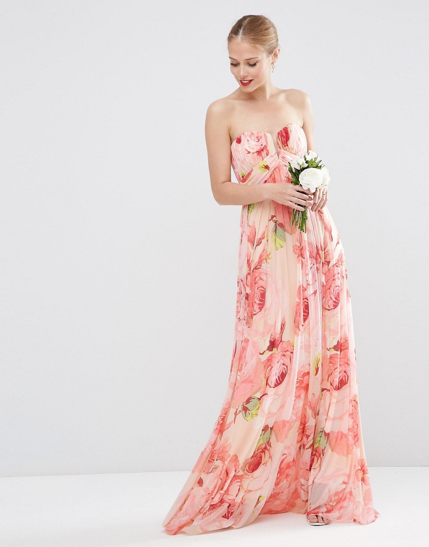 Asos wedding floral printed rouched bandeau mesh maxi for Print maxi dress for wedding