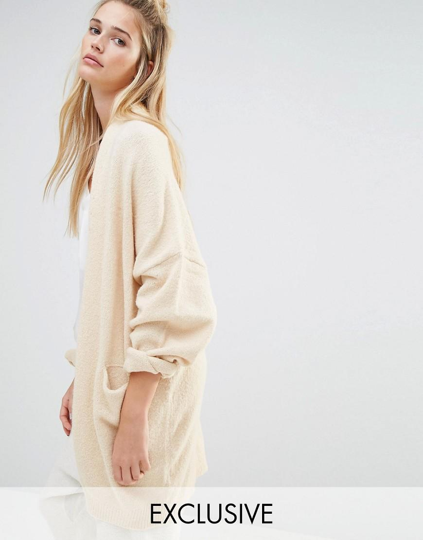 aaf6fc5365 Lyst - Micha Lounge Oversized Bell Sleeved Cardigan in White