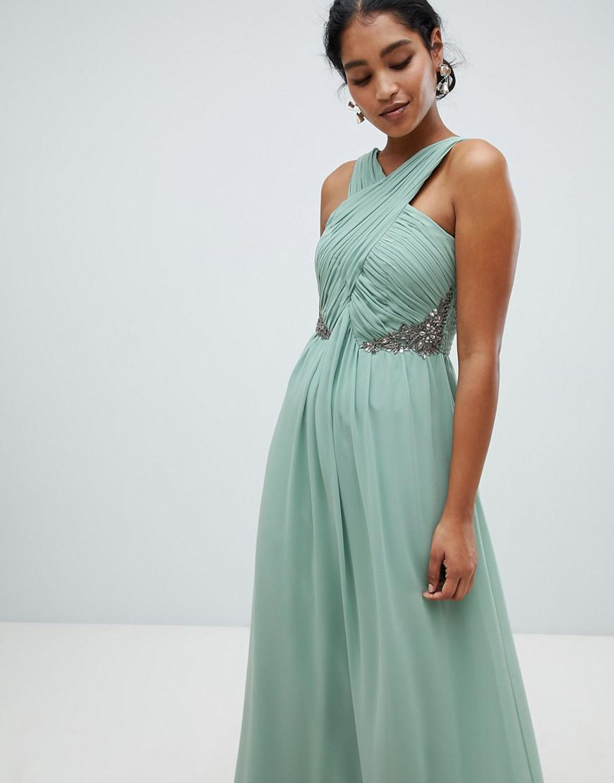 e713fa7df9 Lyst - Little Mistress Ruched Maxi Dress With Embellished Detail in ...