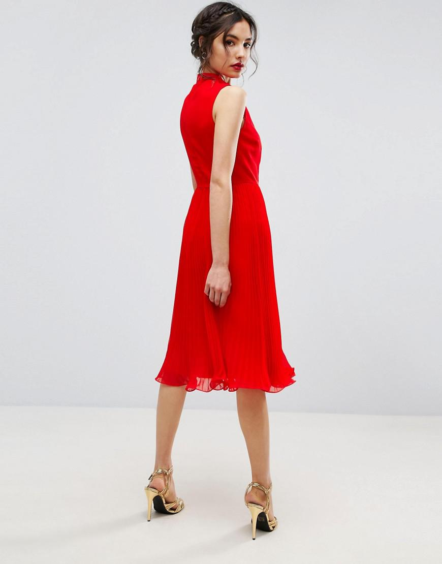 0f1ffd1fc1d3c Lyst - ASOS Sleeveless Lace Insert Midi Dress in Red