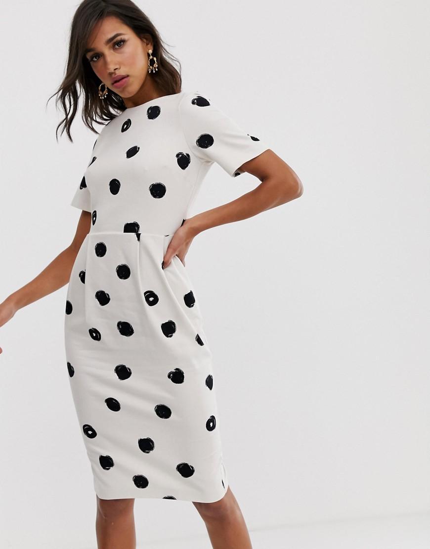 28072f86f72f4 ASOS. Women's Midi wiggle Dress In Mono Spot