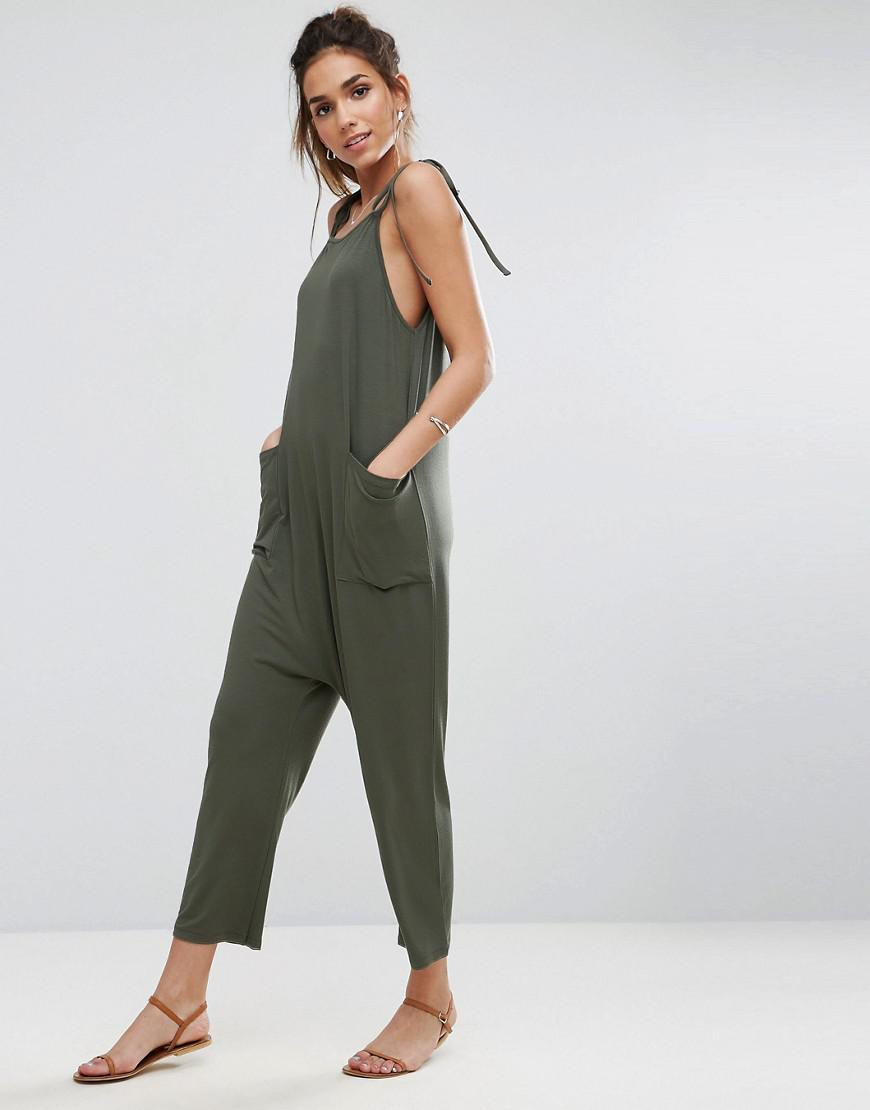 62d9241c5e0 Lyst - ASOS Jersey Minimal Jumpsuit With Ties in Green - Save 41%
