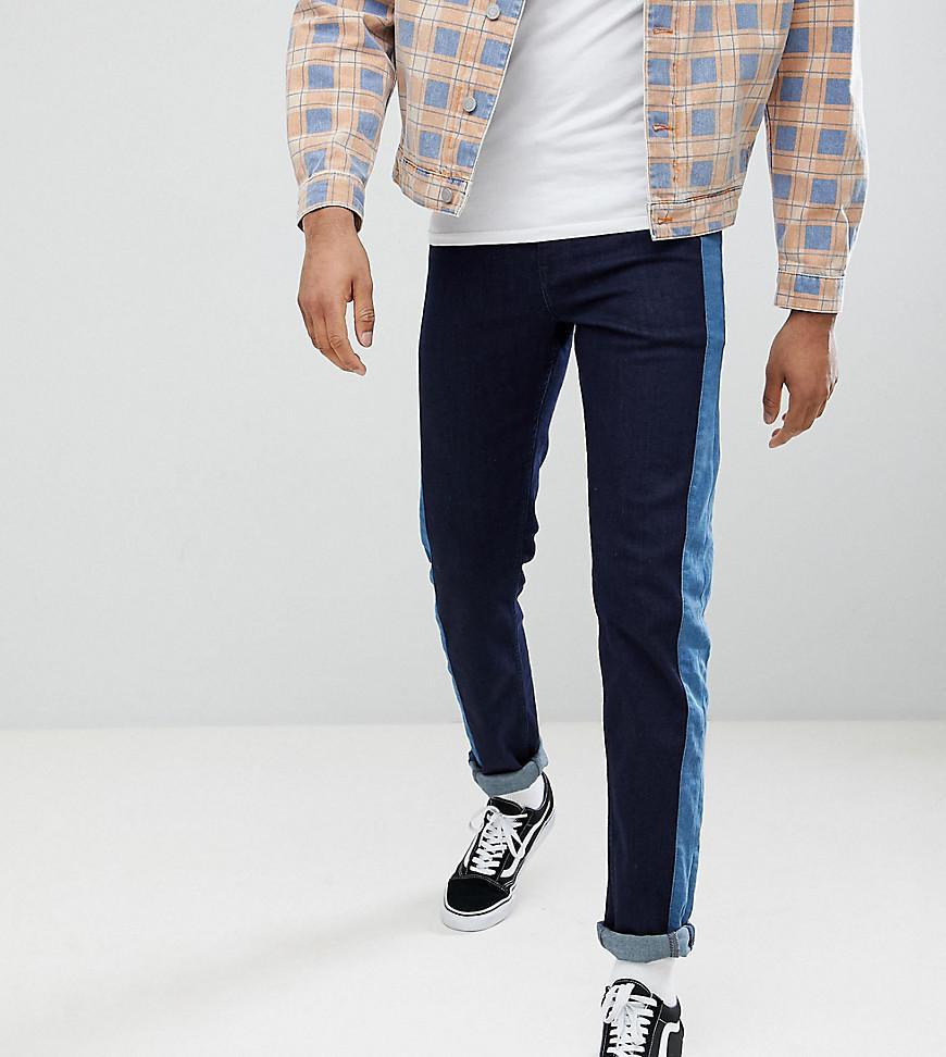 DESIGN Tall Slim Jeans In Indigo With Side Stripe Insert - Indigo Asos YOu2PEj