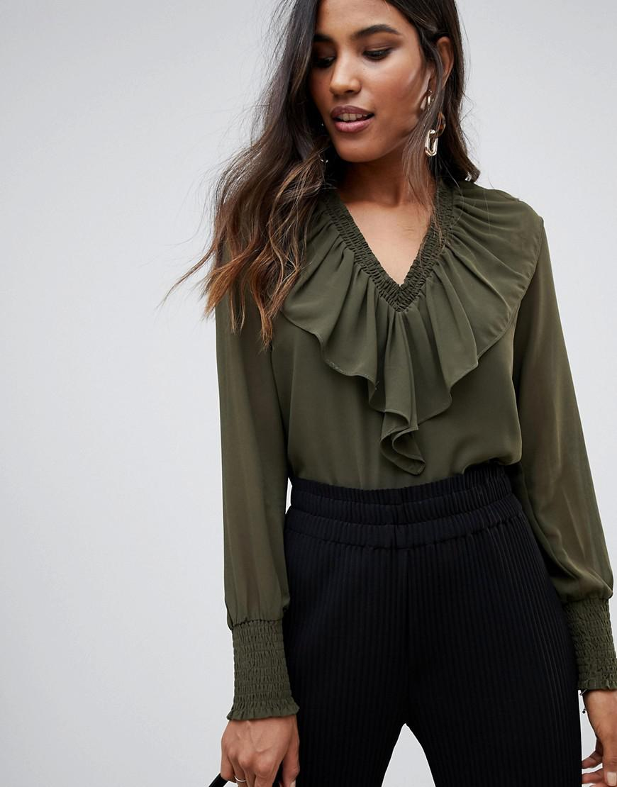 ff0d69a2ade679 Y.A.S Bailey Ruffle Front Blouse in Green - Lyst