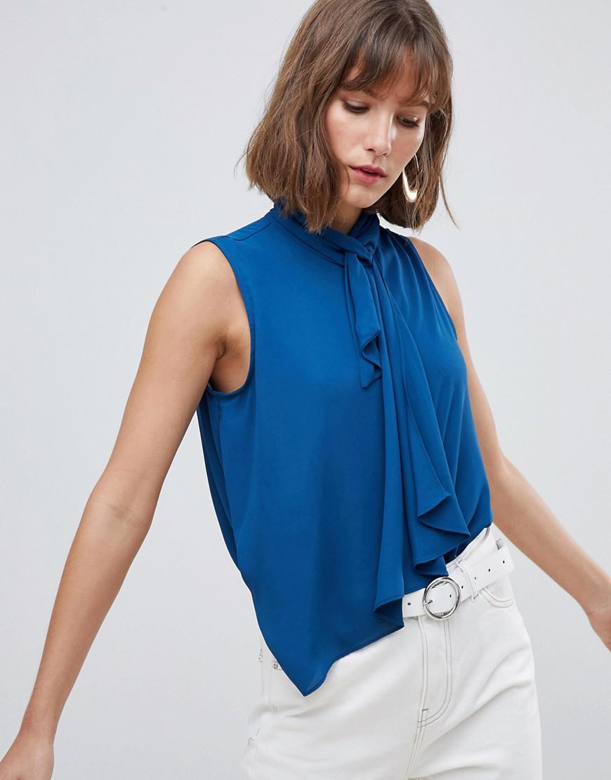 8df589b457 Mango Tie Neck Blouse in Blue - Lyst