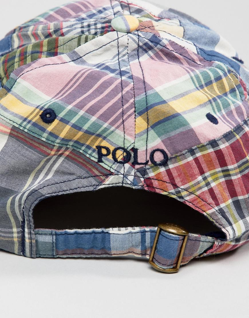 Player Logo Madras Check Patchwork Baseball Cap in Multi - Patchwork Polo Ralph Lauren hhCQwiuNTH
