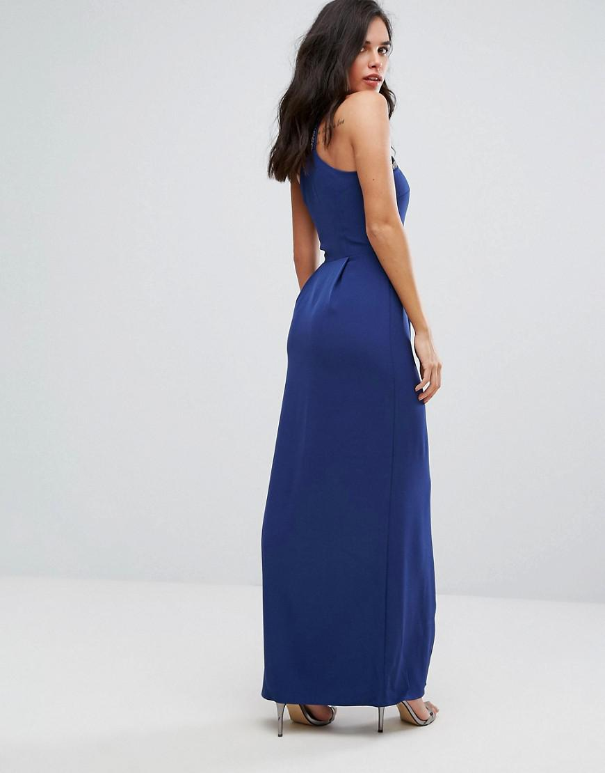 Frill Detail Halter Maxi Dress - Blue Warehouse Shop Offer Clearance Buy Clearance Pick A Best Latest Collections Cheap Price Discount Latest 41nY8VTOa8