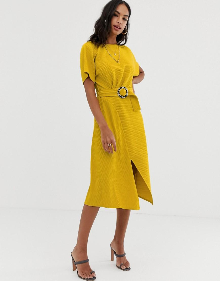 f942c4f4fd3c5c ASOS Midi Dress With Faux Mono Tortoiseshell Buckle In Texture in ...