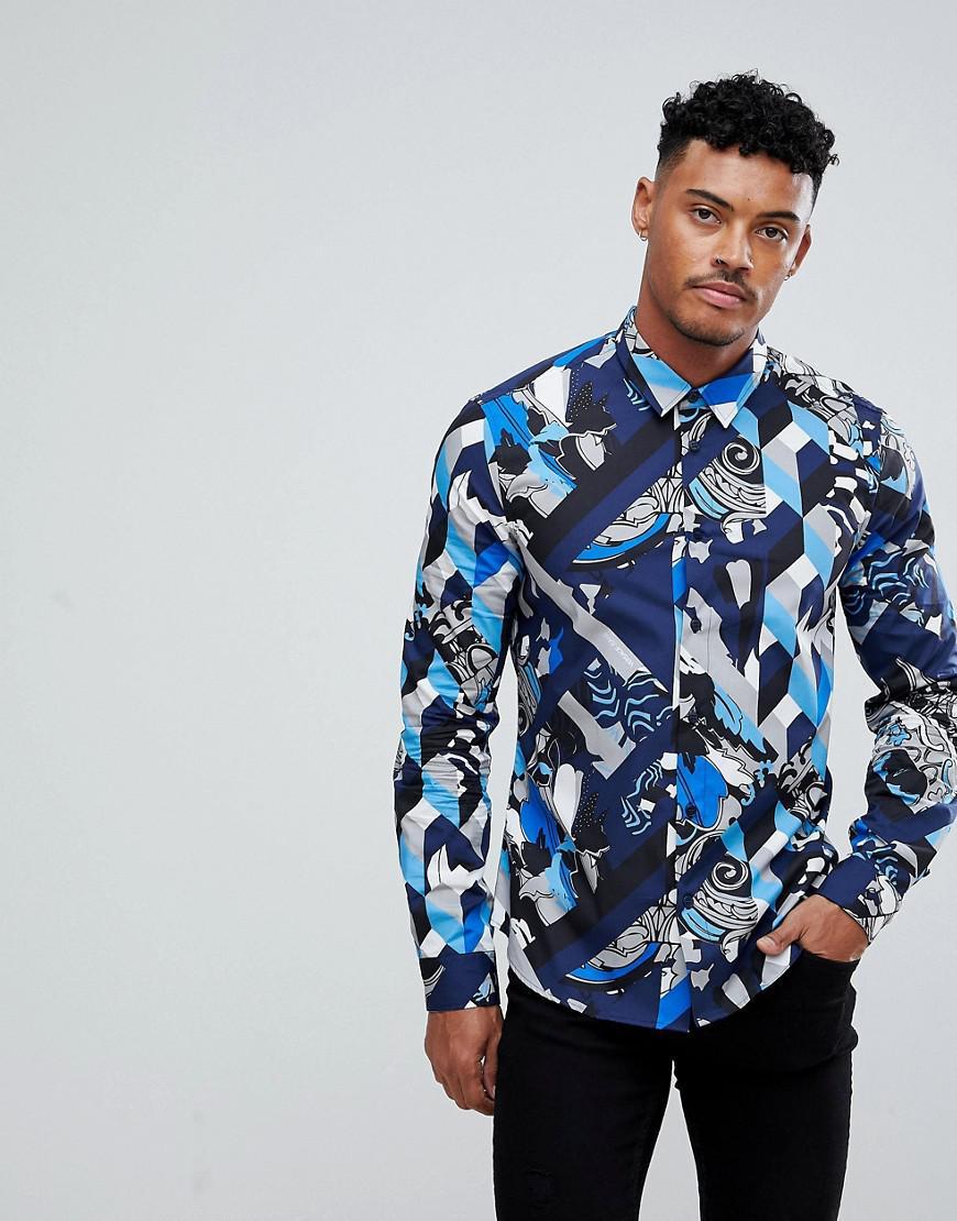 c6f3fe30 Versace Jeans Skinny Shirt In Navy Geometric Print in Blue for Men ...
