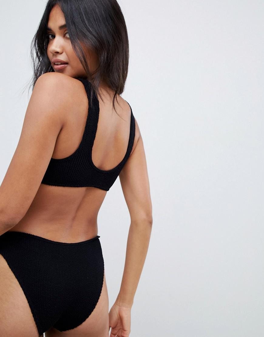 88d5579303 ASOS Mix And Match Crinkle V Front Crop Bikini Top In Black in Black - Lyst