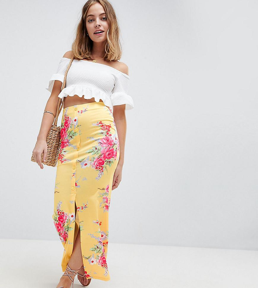 45a296a4751d ASOS Asos Design Petite Maxi Skirt With Button Front In Tea Floral ...