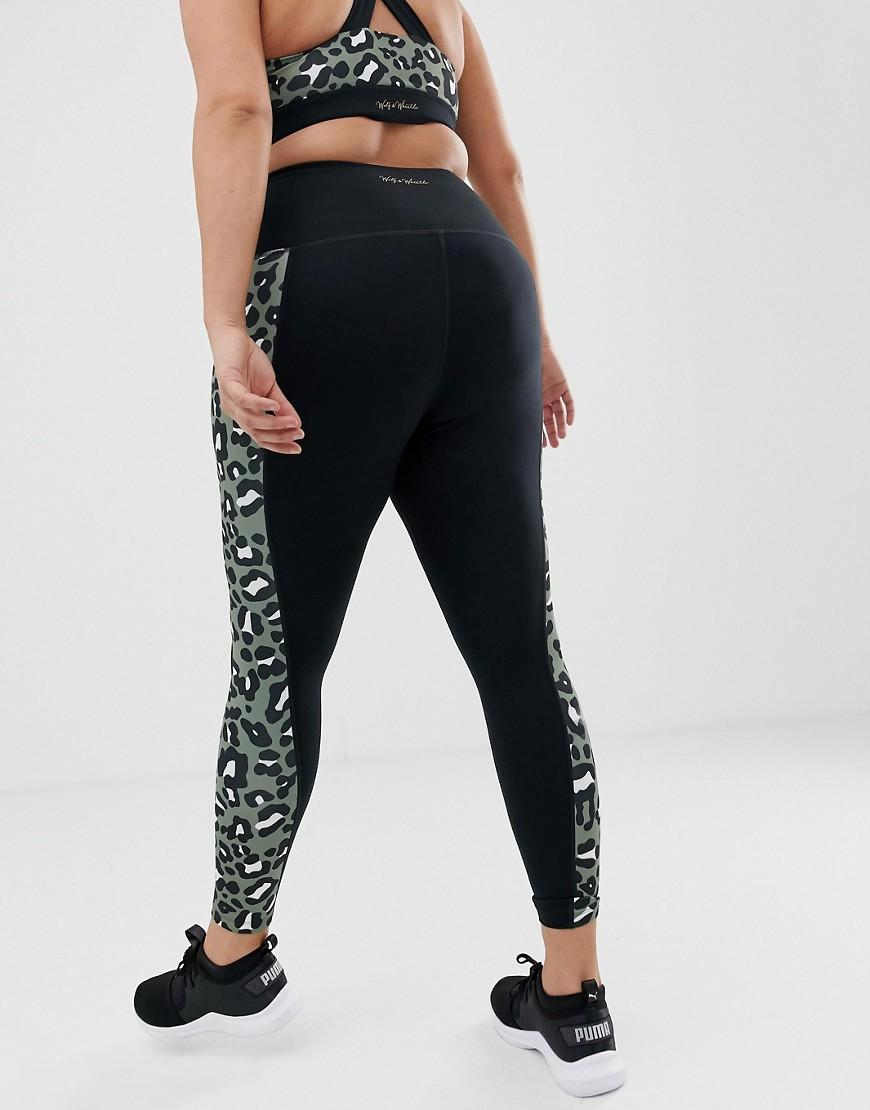 b45355cce34e Lyst - Wolf & Whistle Plus Khaki Leopard Print Leggings in Green