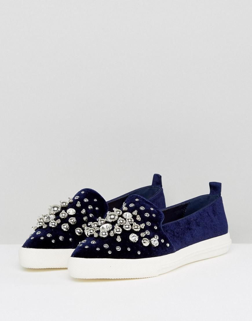 Miss KG Lareina Embellished Velvet Sneakers hKPIx2Ue