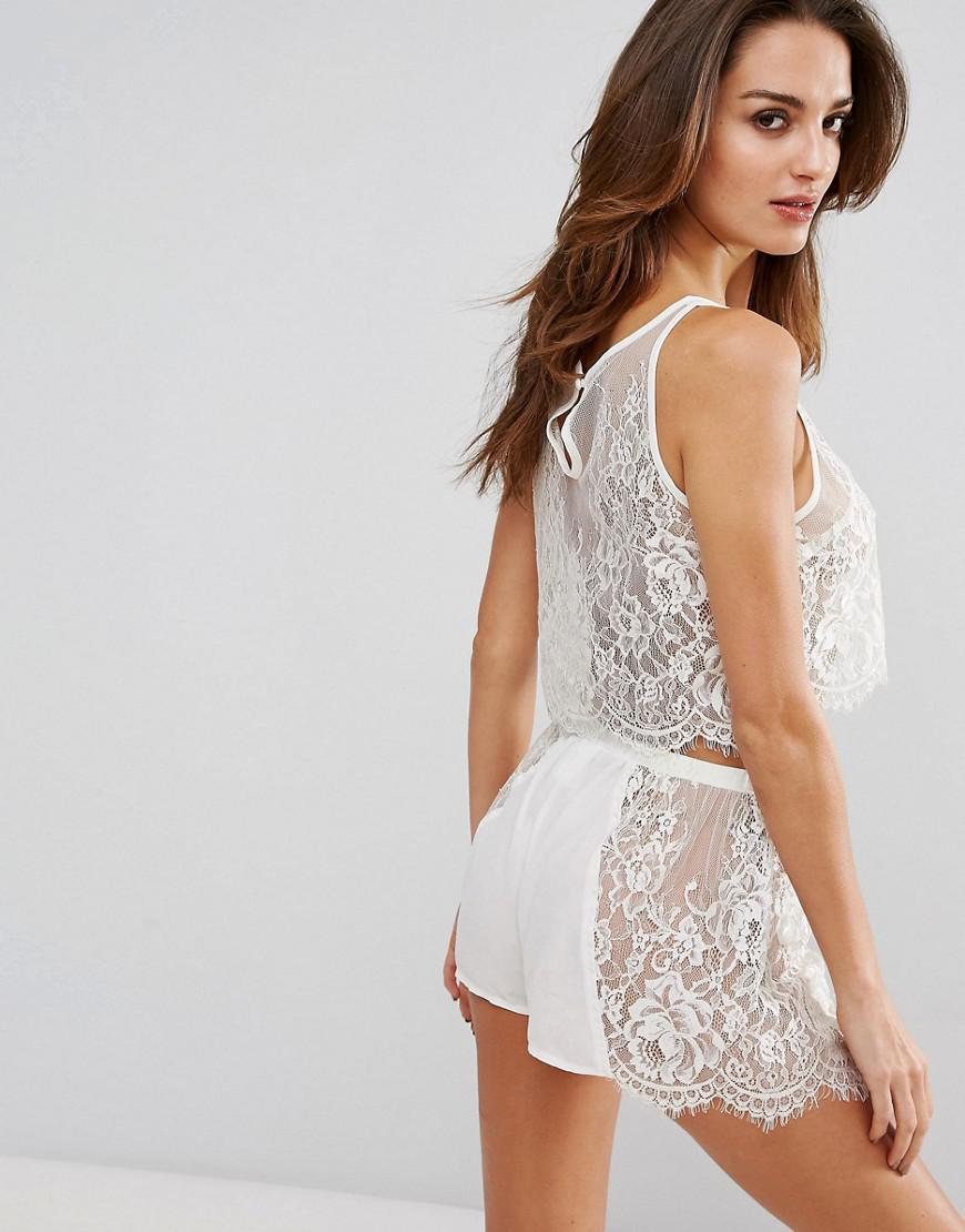 635e3b4271 Lyst - Wolf   Whistle Bridal Ivory Lace Pajama Set in White