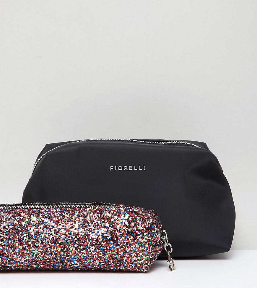 6ff3184a8926 Lyst - Fiorelli Adaline Black Make Up Bag With Multi Glitter Brush ...