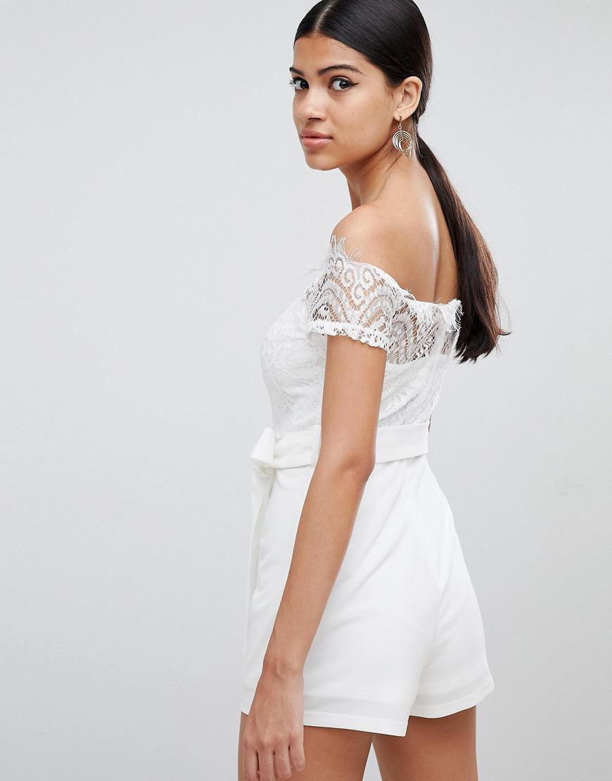 ffcd64b1cb Love Triangle - White Lace Top Bardot Romper With Tie Waist - Lyst. View  fullscreen