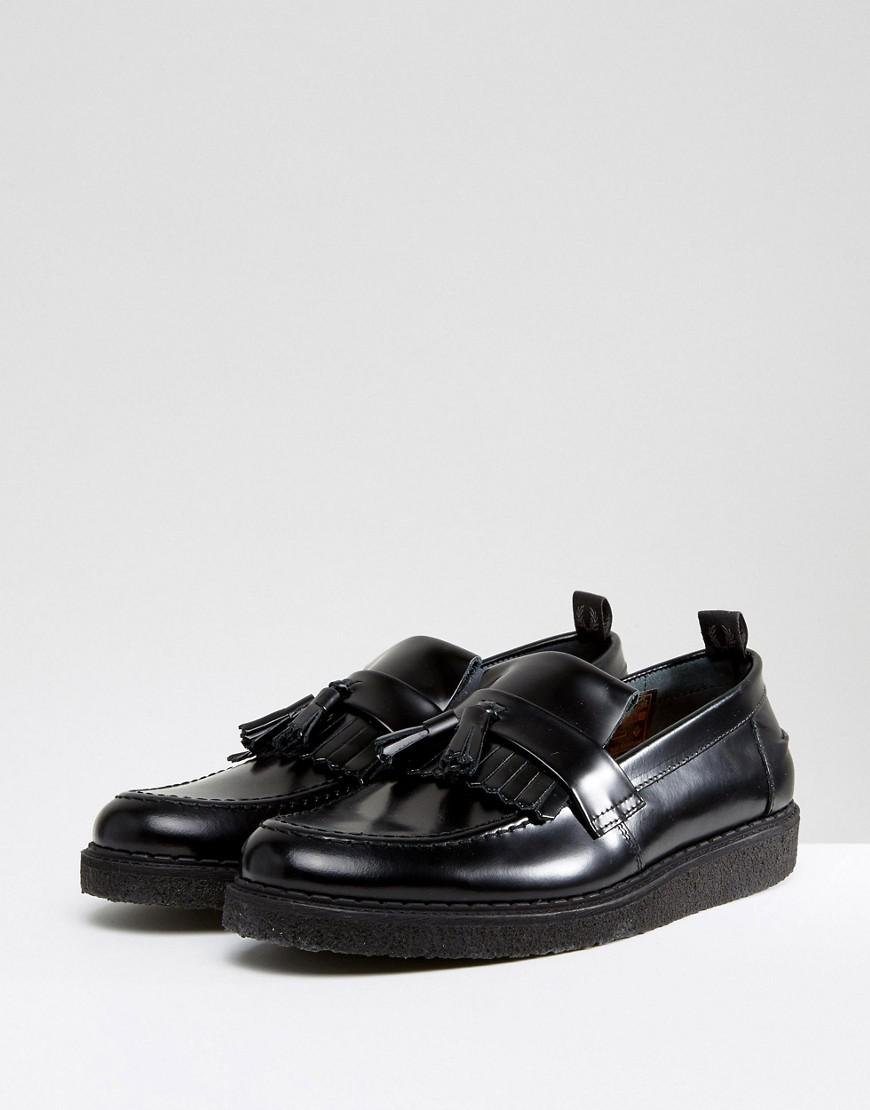hot sale online 2af18 66821 ... Fred Perry X George Cox Leather Tassel Loafers Black in Black for .
