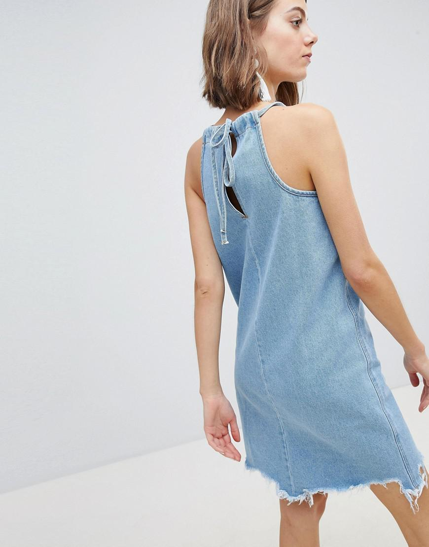 12c1261b82 Lyst - Vero Moda Distressed Denim Cami Dress in Blue