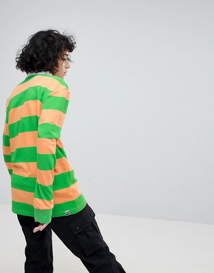 c44727c215f PUMA Exclusive To Asos Striped Rugby Jersey In Orange in Orange - Lyst