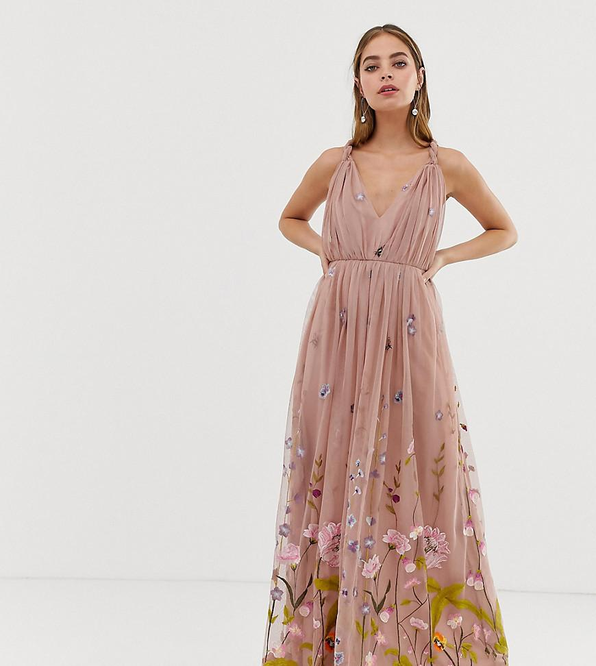 fe8a3ebc98fe1 ASOS Asos Design Petite Tulle Maxi Dress With Delicate Floral ...