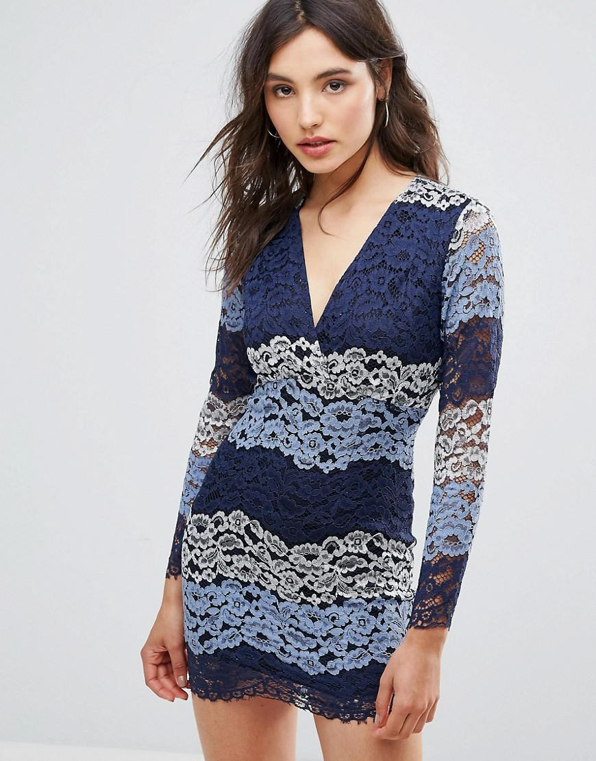 Clearance Buy Multicolour Lace Dress - Blue Ouvre Fashion Free Shipping Limited Edition Store For Sale obFCS