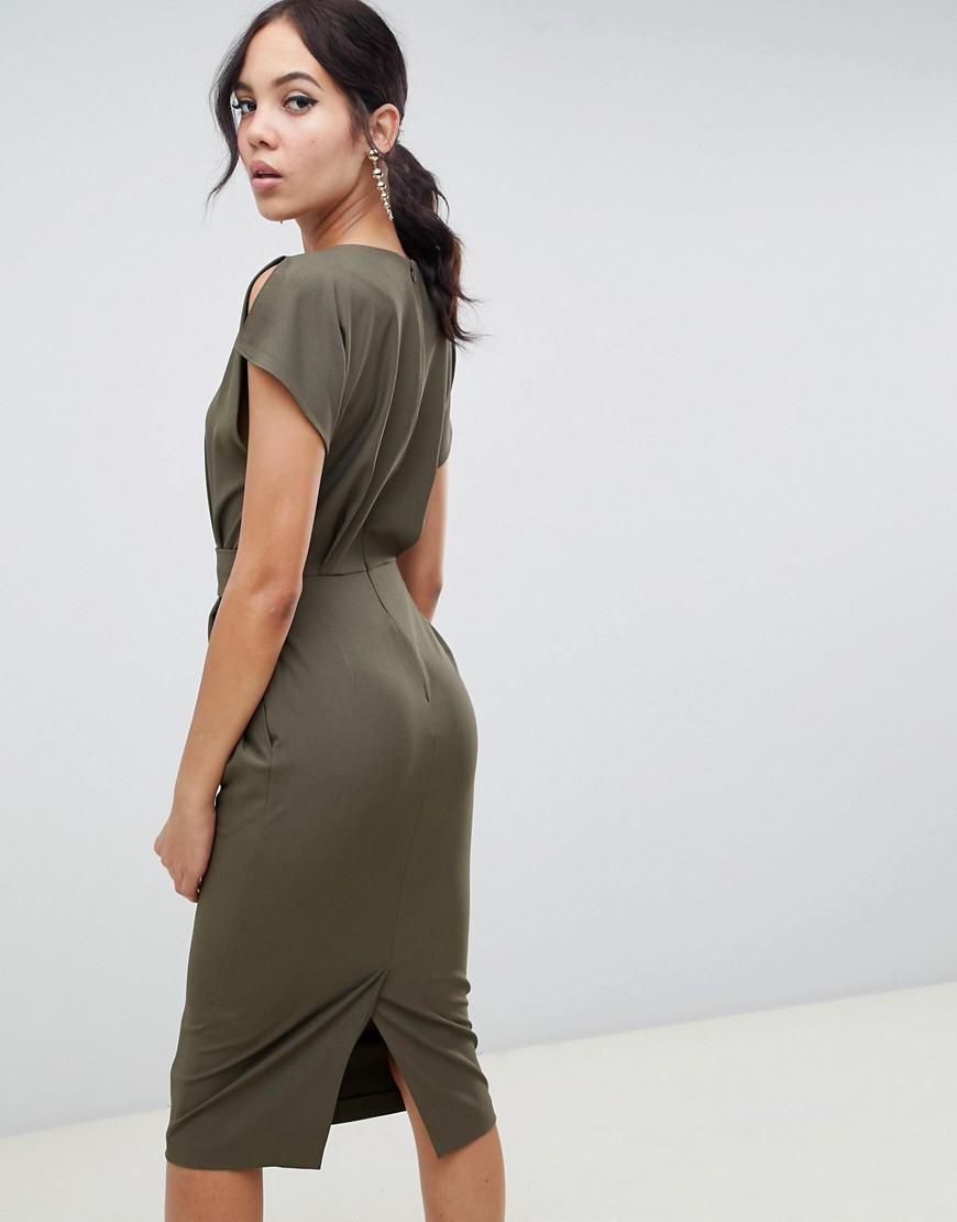 3a6fcfc55d Lyst - ASOS Asos Design Tall Split Cap Sleeve Midi Pencil Dress With Buckle  in Green