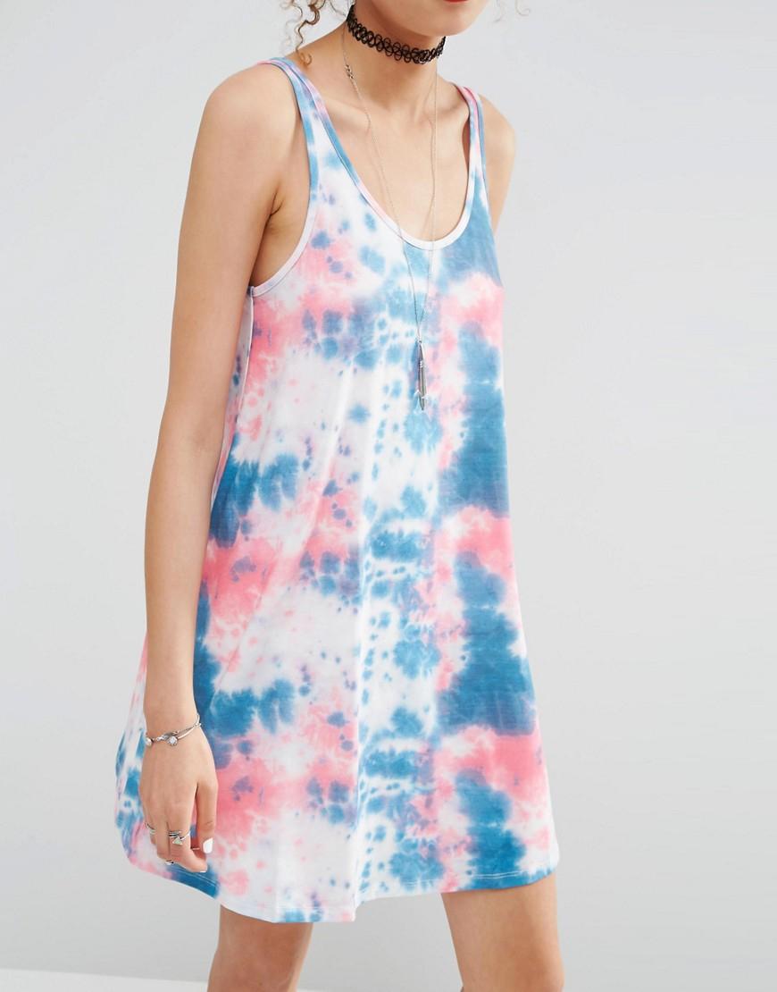 asos tie dye swing sundress in blue lyst